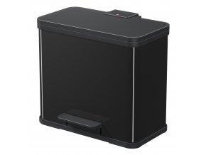 Odpadkový koš Hailo na tříděný odpad 3 × 9 litrů, černý lak