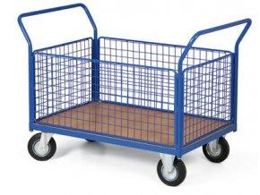 Plošinový vozík, čtyři strany drátěné, 400 kg