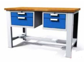 Dílenské stoly, 2 kontejenry (4 zásuvky), šířka 150 a 200 cm