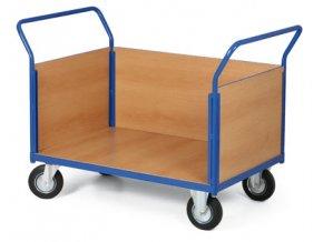 Plošinový vozík, tři plné strany, 500 kg