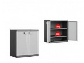 Nízká plastová skříň policová XL Logico 93x89x54 cm
