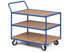 Policový vozík, tři etáže dřevotříska v rámu, 300 kg