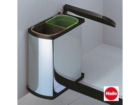 Vestavný odpadkový koš, Hailo AS Duo 8/8 Öko Flex, nerez-černý