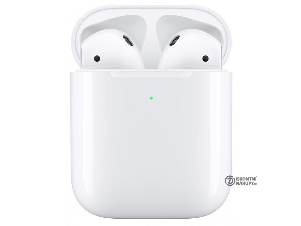 Sluchátka Apple AirPods, bezdrátové nabíjení (2019) bílá  appmrxj2zma