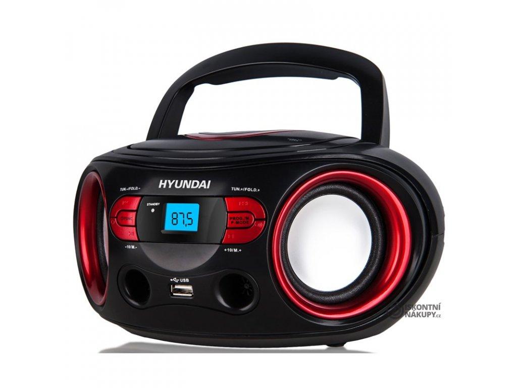 Radiopřijímač s CD Hyundai TRC 533 AU3BR černý/červený  hyutrc533au3br