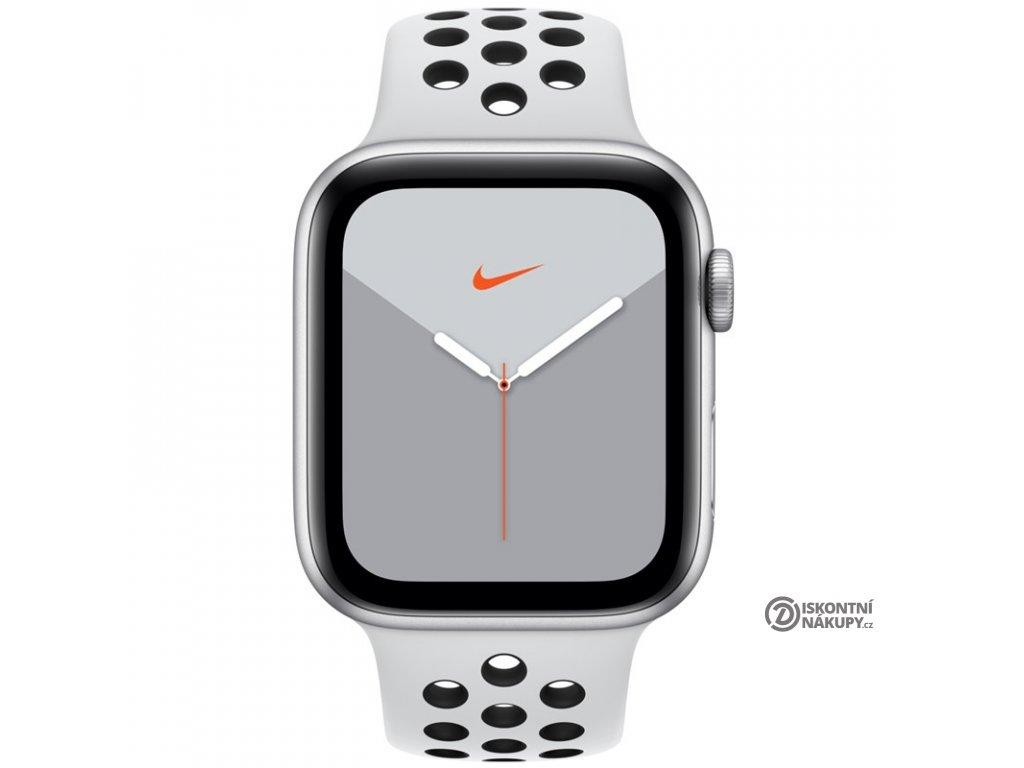Chytré hodinky Apple Watch Nike Series 5 GPS 44mm pouzdro ze stříbrného hliníku - platinový/černý sportovní řemínek Nike  appmx3v2hca