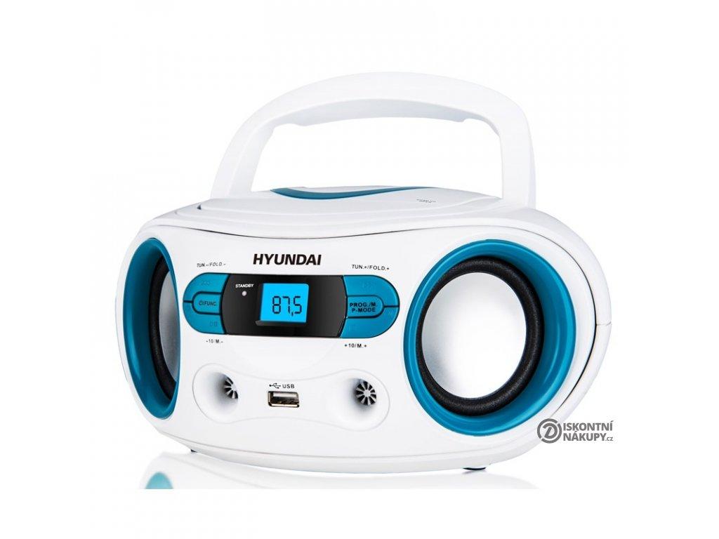 Radiopřijímač s CD Hyundai TRC 533 AU3WBL bílý/modrý  hyutrc533au3wbl