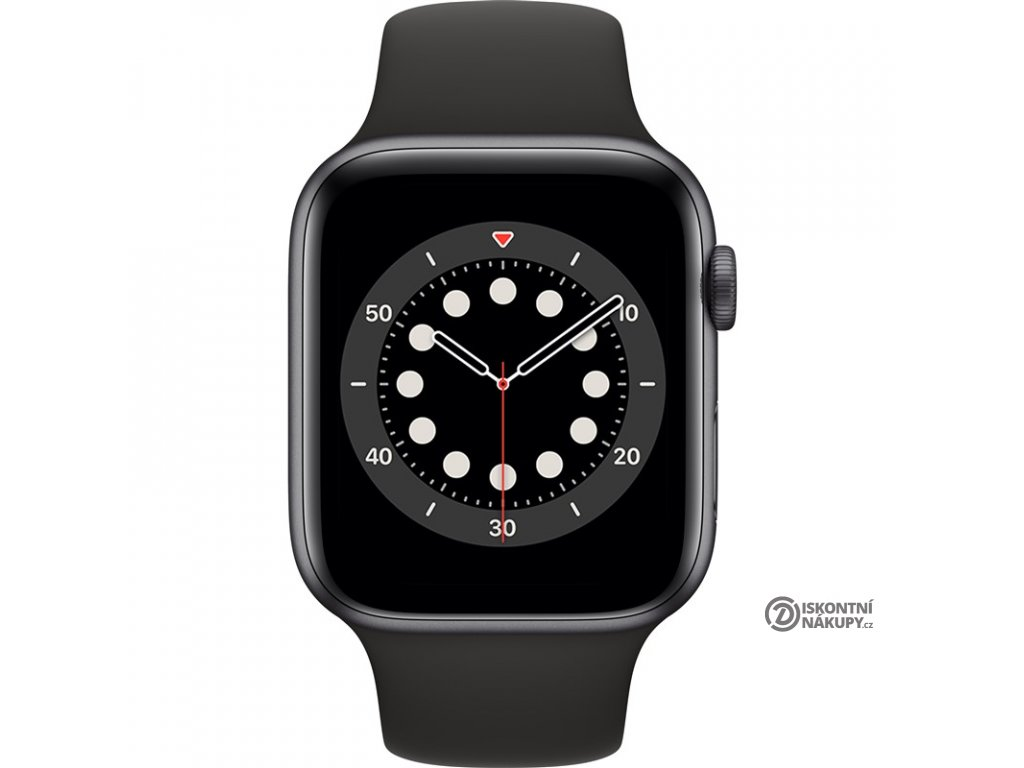Chytré hodinky Apple Watch Series 6 GPS 44mm pouzdro z vesmírně šedého hliníku - černý sportovní náramek  appm00h3hca