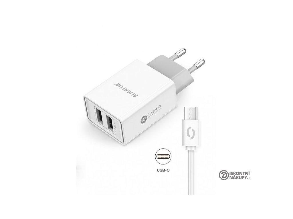 Chytrá síťová nabíječka ALIGATOR 2.4A, 2xUSB, smart IC, bílá, USB-C kabel 2A