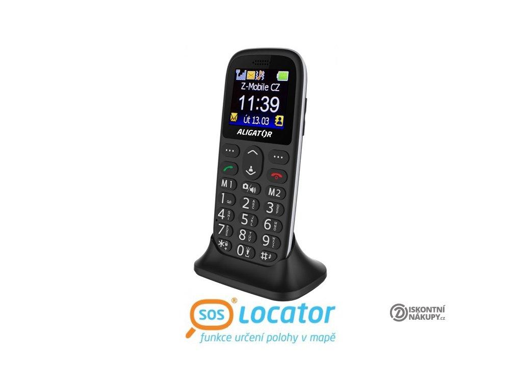 Mobilní telefon ALIGATOR A510 Senior černý + stolní nabíječka