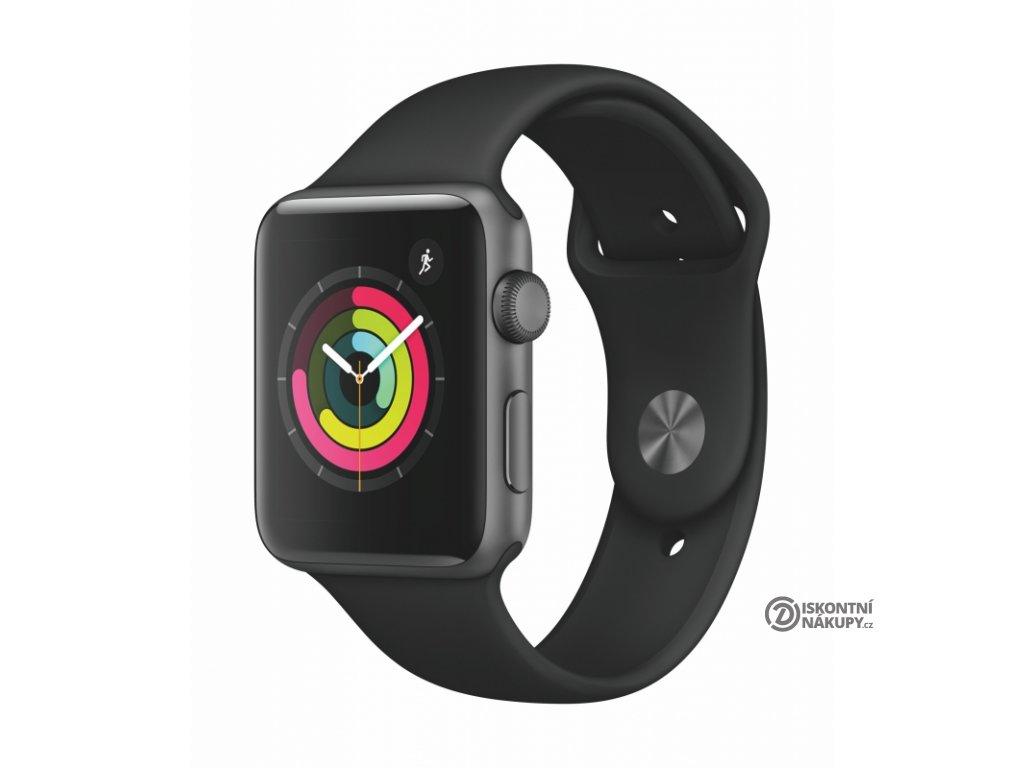 Chytré hodinky Apple Watch Series 3 Watch Series 3 GPS 42mm pouzdro z vesmírně šedého hliníku - černý sportovní řemínek  Vráceno - škrábanec na displeji