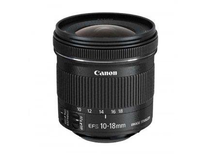 Objektiv Canon EF-S 10-18 mm f/4.5-5.6 IS STM + EW73C + LC kit černý  canefs1018ew73c