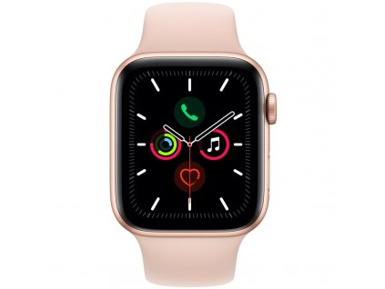 Chytré hodinky Apple Watch Series 5 GPS 44mm pouzdro ze zlatého hliníku - pískově růžový sportovní řemínek (MWVE2HC/A)  Nerozbaleno - poškozený obal