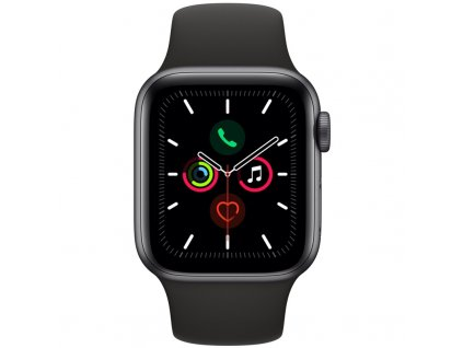 Chytré hodinky Apple Watch Series 5 GPS 40mm pouzdro z vesmírně šedého hliníku - černý sportovní řemínek  Vráceno ve 14ti denní lhůtě