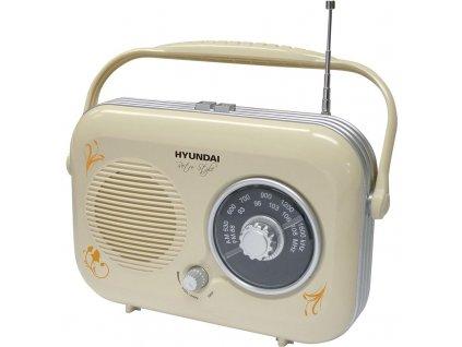 Radiopřijímač Hyundai Retro PR 100B krémové  Poškozený obal - Vystaveno