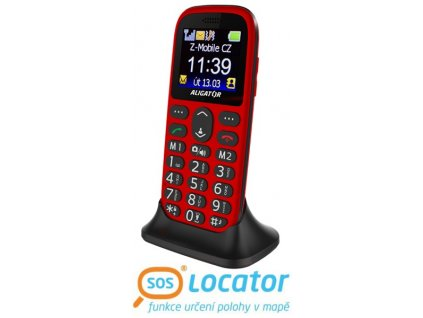 Mobilní telefon ALIGATOR A510 Senior červeno-černý + stolní nabíječka
