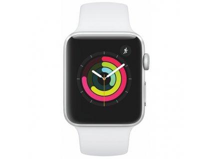Chytré hodinky Apple Watch Series 3 Watch Series 3 GPS 42mm pouzdro ze stříbrného hliníku - bílý sportovní řemínek  Vráceno ve 14ti denní lhůtě