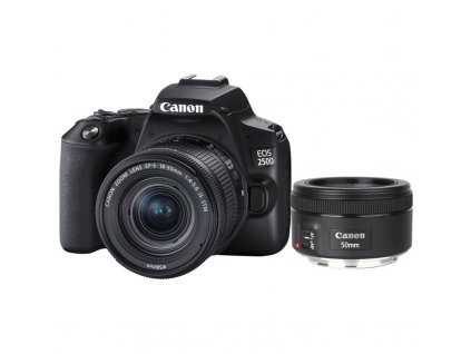 Digitální fotoaparát Canon EOS 250D + 18-55 IS STM + 50f/1.8 STM černý (3454C013)  Vráceno ve 14ti denní lhůtě