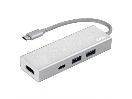 USB Hub Hama USB-C/2x USB, USB-C, HDMI stříbrný  Vráceno ve 14ti denní lhůtě