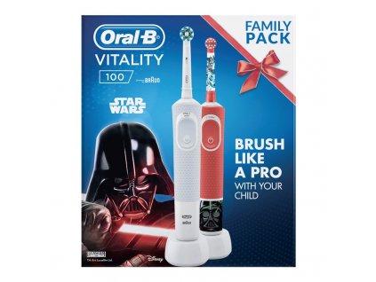 Set zubních kartáčků Oral-B Vitality 100 D100 Adults White CA + D100 Star Wars  Nepoužito - Rozbaleno - Poškozená krabice