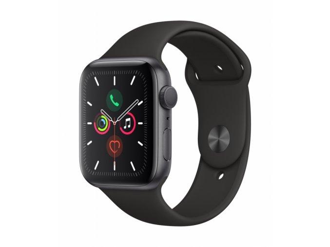 Chytré hodinky Apple Watch Series 5 GPS 44mm pouzdro z vesmírně šedého hliníku - černý sportovní řemínek (MWVF2HC/A)  appmwvf2hca
