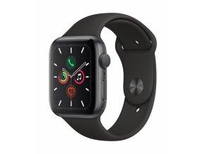 Chytré hodinky Apple Watch Series 5 GPS 44mm pouzdro z vesmírně šedého hliníku - černý sportovní řemínek