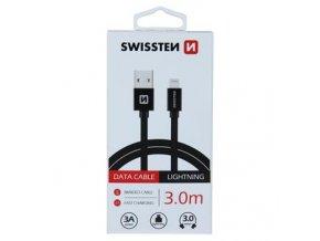 DATOVÝ KABEL SWISSTEN TEXTILE USB / LIGHTNING 3,0 M ČERNÝ