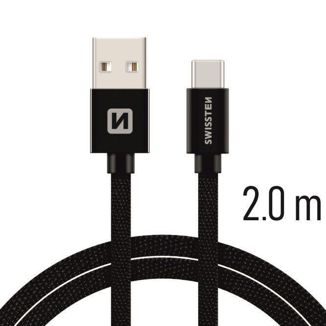 DATOVÝ KABEL SWISSTEN TEXTILE USB / USB-C 2,0 M ČERNÝ