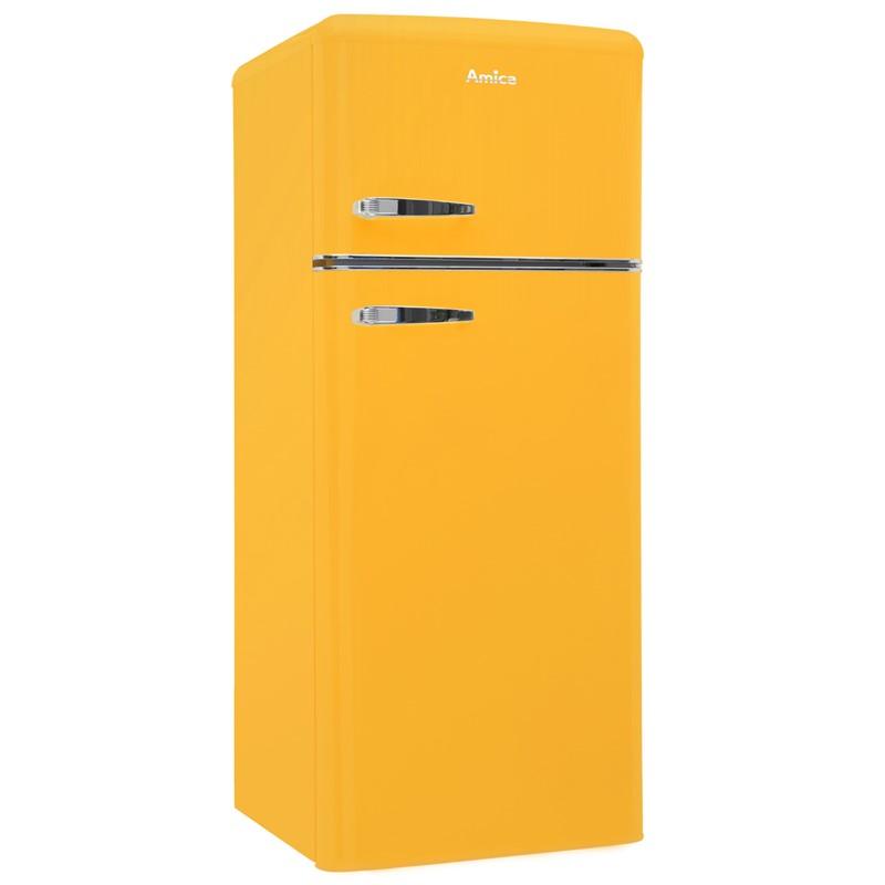 Chladnička Amica Retro VD 1442 AY žlutá nepoužito - pravá strana malá promáčklina