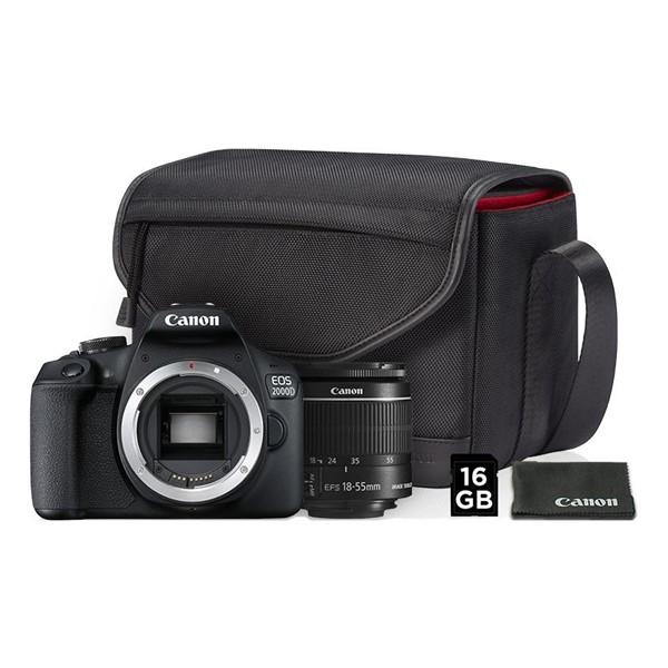 Digitální fotoaparát Canon EOS 2000D + 18-55 IS II + SB130 + 16GB karta černý Vráceno-ušpinena brašna