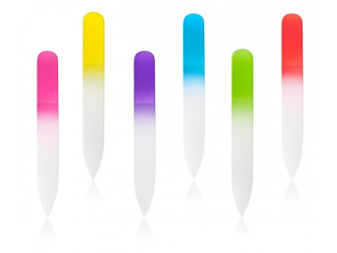 Pilník skleněný oboustranný malý barevný