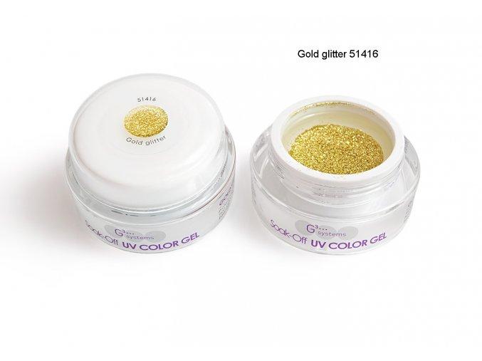 UV Soak off color gel barevný gel, Gold glitter