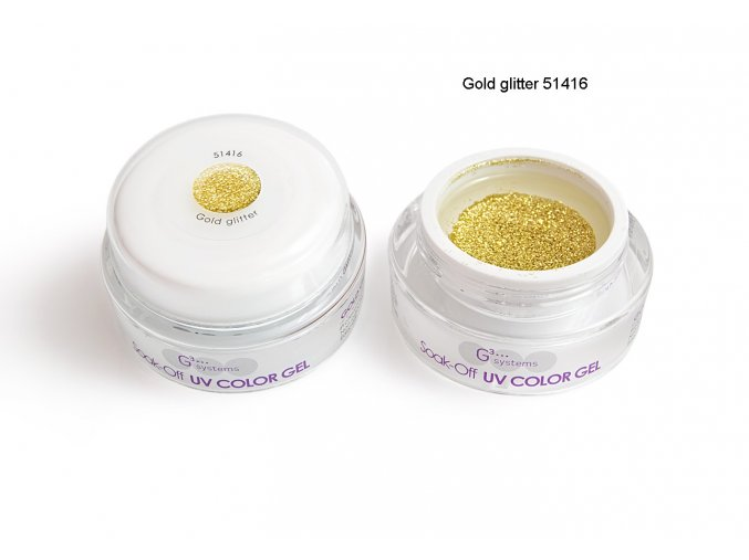 UV Soak off color gel barevný gel, Gold glitter
