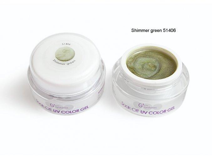 UV Soak off color gel barevný gel, Shimmer green