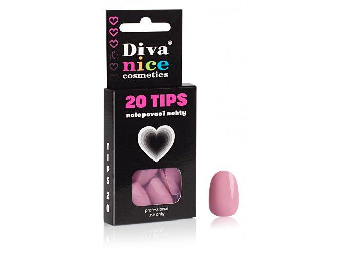 Nalepovací nehty TIPS 20 pink oval