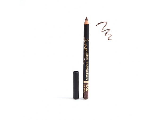 Konturovací tužka na oči Nice cosmetics s glitrem 02 BROWN