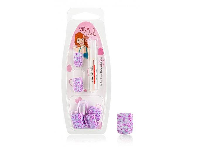 Nalepovací nehty GIRLS mramorové GG + lepidlo, č. 1