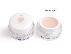 UV Soak off color gel barevný gel, Baby pink