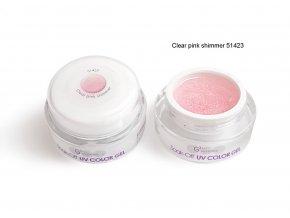 UV Soak off color gel barevný gel, Clear pink shimmer
