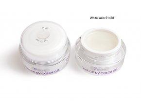 UV Soak off color gel barevný gel, White satin