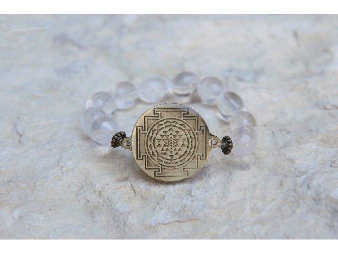 Náramek s amuletem Šrí jantra - Křišťál