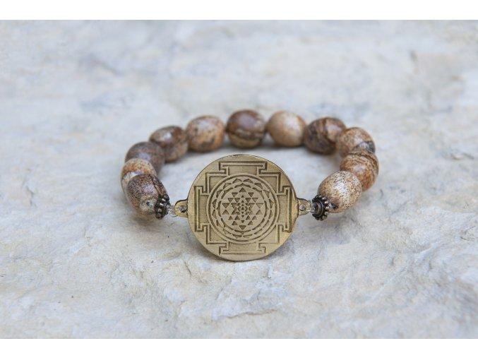 Náramek s amuletem Šrí jantra -  Jaspis obrázkový