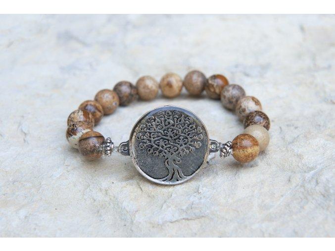 Náramek s amuletem Strom života - Jaspis obrázkový
