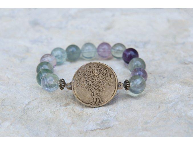 Náramek s amuletem Strom života - Fluorit