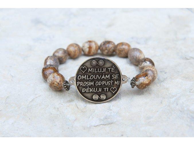 Náramek s amuletem Ho´oponopono - Jaspis obrázkový