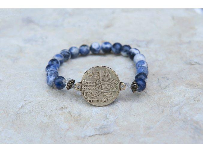 Náramek s amuletem Horovo oko - Sodalit