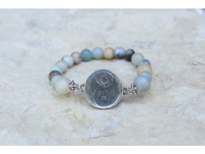 Náramek s amuletem Jin - Jang  - Amazonit
