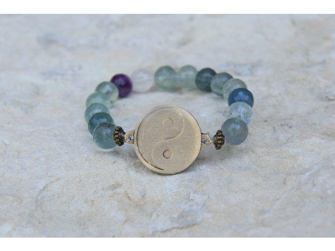 Náramek s amuletem Jin - Jang - Fluorit