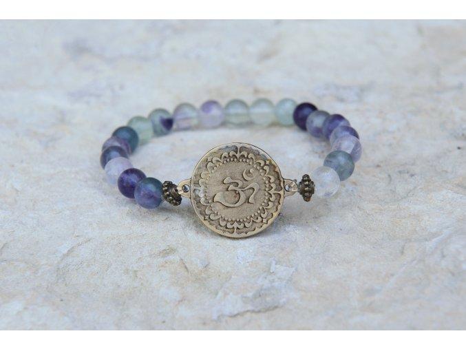 Náramek s amuletem Óm - Fluorit