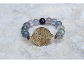 Náramek s amuletem Had ze Súz - Fluorit